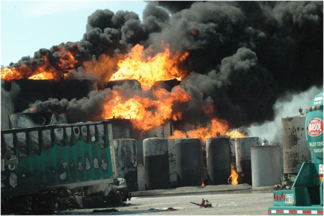 Large explosion and fire loss at a tank farm